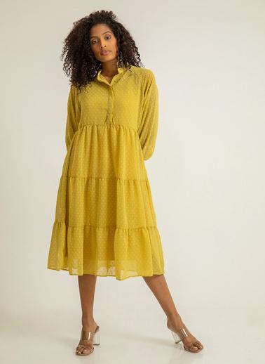 Foremia Kesme Şifon Şalaş Elbise Sarı